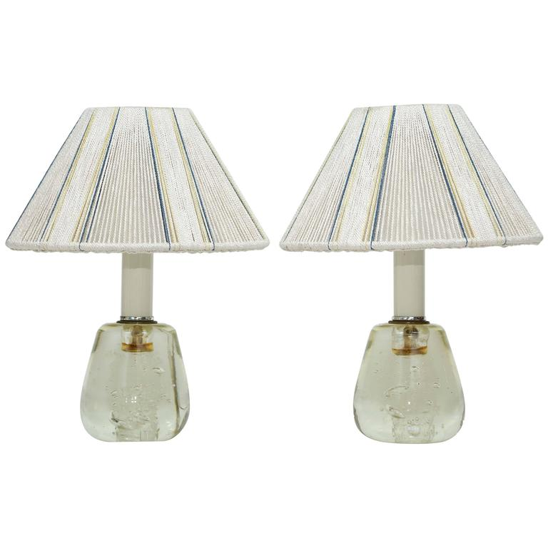 "Pair of ""Schneider, France""Signed Lamps, Murano Glass, Original French Shades For Sale"