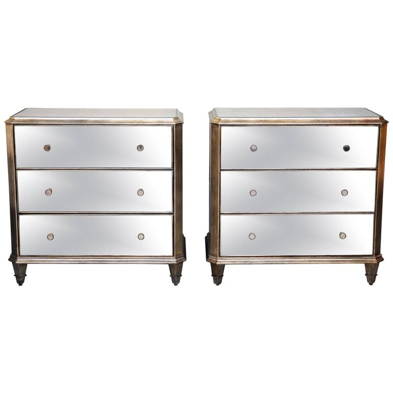 Vintage Pair of Mirrored Dressers Silver Finish