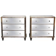 Pr/ Mirrored Dressers, Night Tables, Silver Finish, Great Storage Capacity,