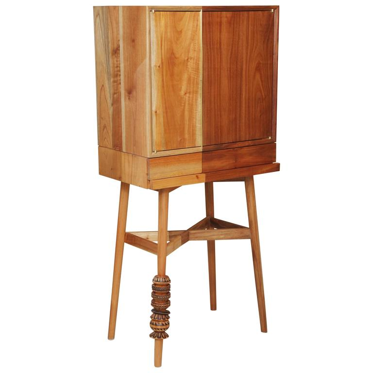Bar Cabinet, Artisanal, Handcrafted Mexico Cedar and Tzalam Wood, Maison Object For Sale