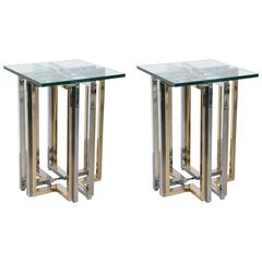 Pair of Two Tone Geometric Side Tables