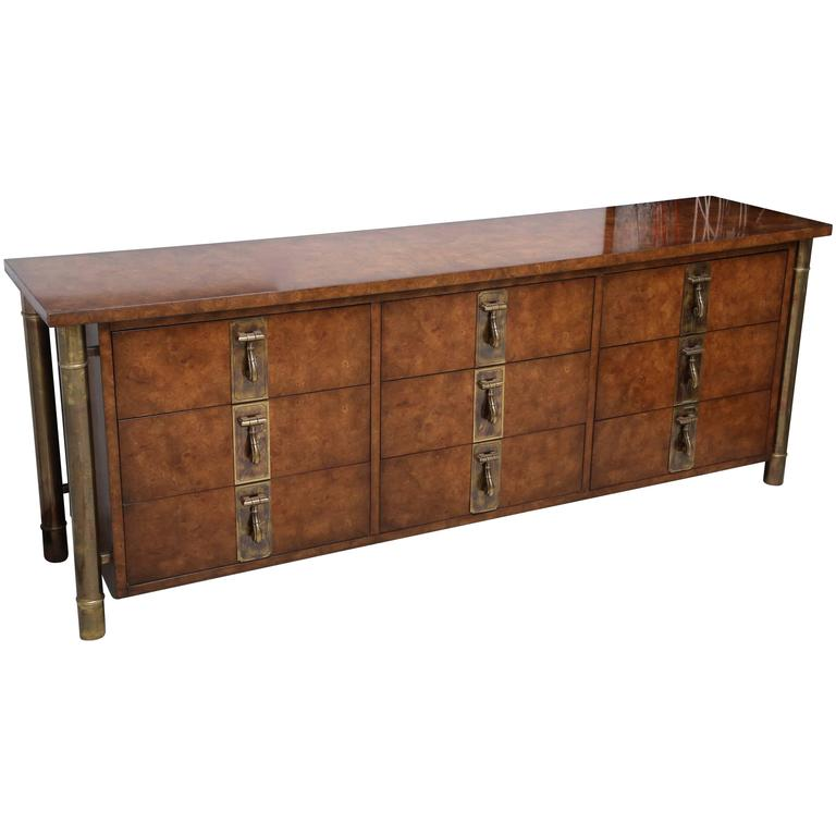 Mastercraft Burl And Brass Credenza By William Doezema For