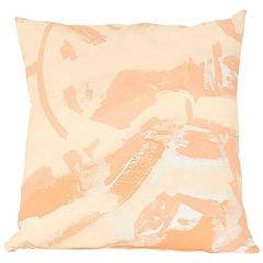 Peach Two Hue Hand-Painted Canvas Square Pillow