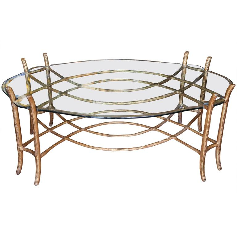 Vintage Gilded Faux Bois Coffee Table For Sale at 1stdibs ~ Table Bois Vintage