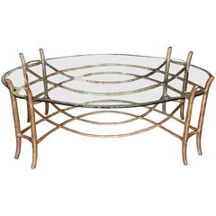 Vintage Gilded Faux Bois Coffee Table