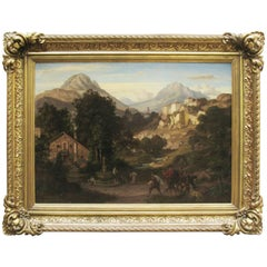 19th century Italian Alps Mountain Landscape with Figures by Edvard Cohen