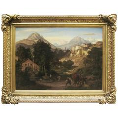 Large 19th century Mountain Landscape with Figures by German Edvard Cohen 1866