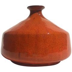 Mid-Century Orange Glazed Art Pottery Vase Vessel by Assenmacher, Germany, 1960s