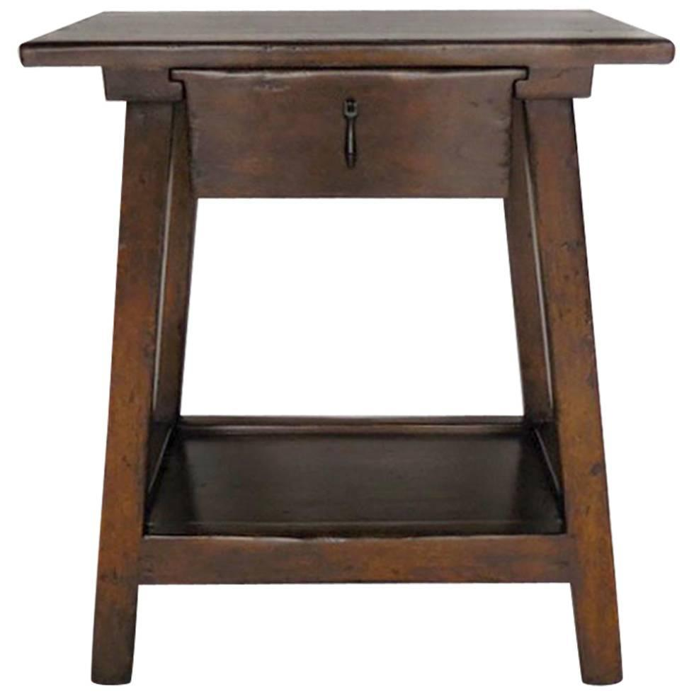 Side table with drawer and shelf - Dos Gallos Custom Wood Nightstand Side Table With Drawer And Shelf For Sale At 1stdibs