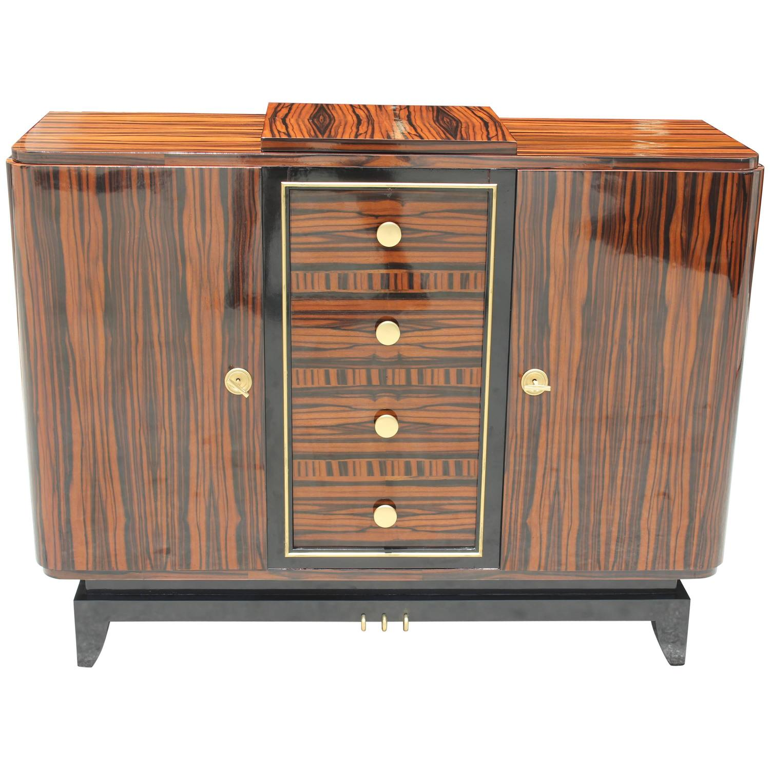 Sensational French Art Deco Exotic Macassar Ebony Buffet Dry Bar Circa 1940s At 1stdibs