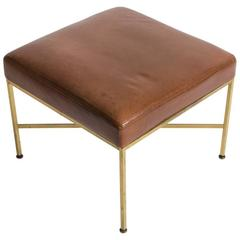 Paul McCobb Leather and Brass Ottoman, 1950s, Directional Collection