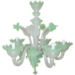Vintage Murano Chandelier in White and Green Opaline Glass