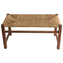 Rush and Walnut Bench by Furniture & Co