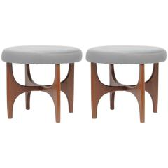 Pair of Walnut Stools with Upholstered Tops