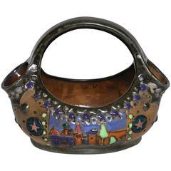 Rare Riessner and Kessel Amphora Ceramic Art Nouveau Pottery Basket