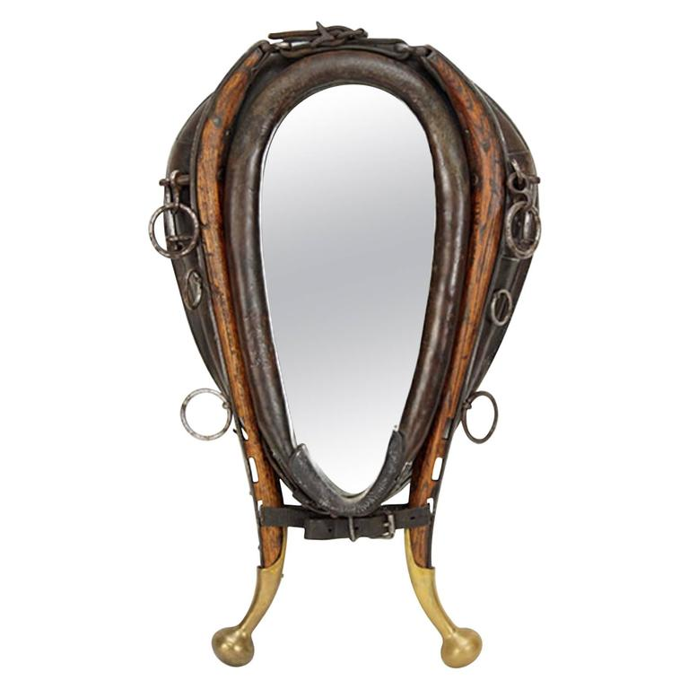 Handsome 19th Century Leather, Wood and Brass Horse Collar Mounted as Mirror For Sale