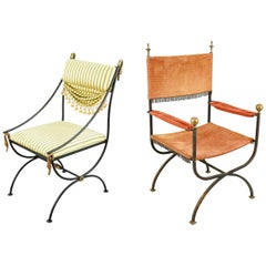 Two Iron Neoclassical Armchairs with Bronze Mounts