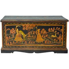 19th Century Likely North Indian Mughal School Painted Chest with Hunting Scenes