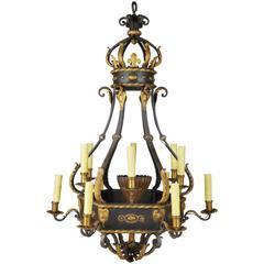 Monumental French Iron Parcel-Gilt Ten-Light Chandelier