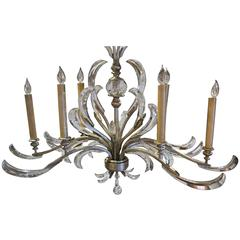 Grand Vintage Italian Six-Light Silver Leaf Chandelier