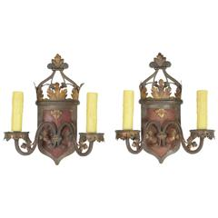 Pair of Iron and Polychrome Painted Two-Light Wall Sconces