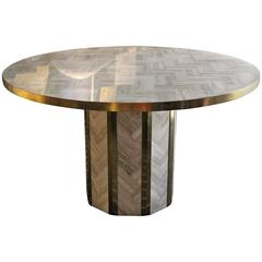 1970s Travertine Round Table