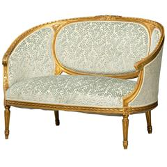Corbeille Shaped Sofa with Original Gilding, Louis XVI Style