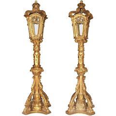 Pair of XL Italian Giltwood Lamps Architectural Lighting Lantern