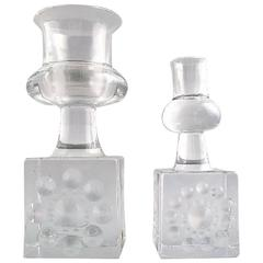 Kosta Boda, Bertil Vallien, Two Art Glass Candlesticks, 1980s