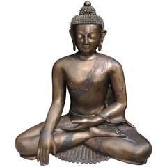 Large Bronze Nepalese Buddha Statue Buddhist Meditate Dhyanasana