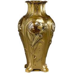 """Henri-Edmond Becker, an Art Nouveau Gilt Bronze Vase """"Four Seasons"""", Signed"""