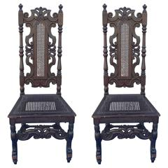 Pair of English William & Mary Banister Back Hall Chairs, Prince of Wales Crest