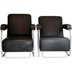 Pair of Thonet Leather and Tubular Steel Chairs, Second Half of the 20th Century