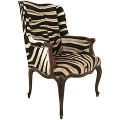 Vintage English Neoclassical Style Mahogany Wingback in Zebra