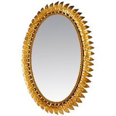 Gilt Metal Leaf Sunburst Mirror, Spain, 1960s