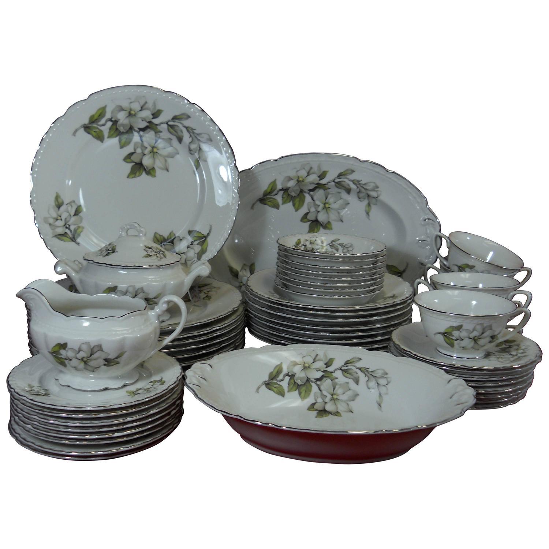 embassy china silver gardenia pattern 53 piece set service
