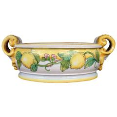 Vintage Glazed Terracotta Jardiniere with Twin Scroll Handles