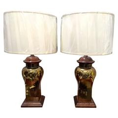 Pair of Mid-Century Brass and Wood Lamps