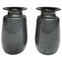 Seguso Black and Silver Vases