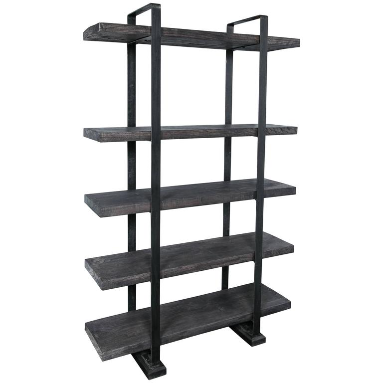 Industrial Style Plank and Steel Shelf Unit