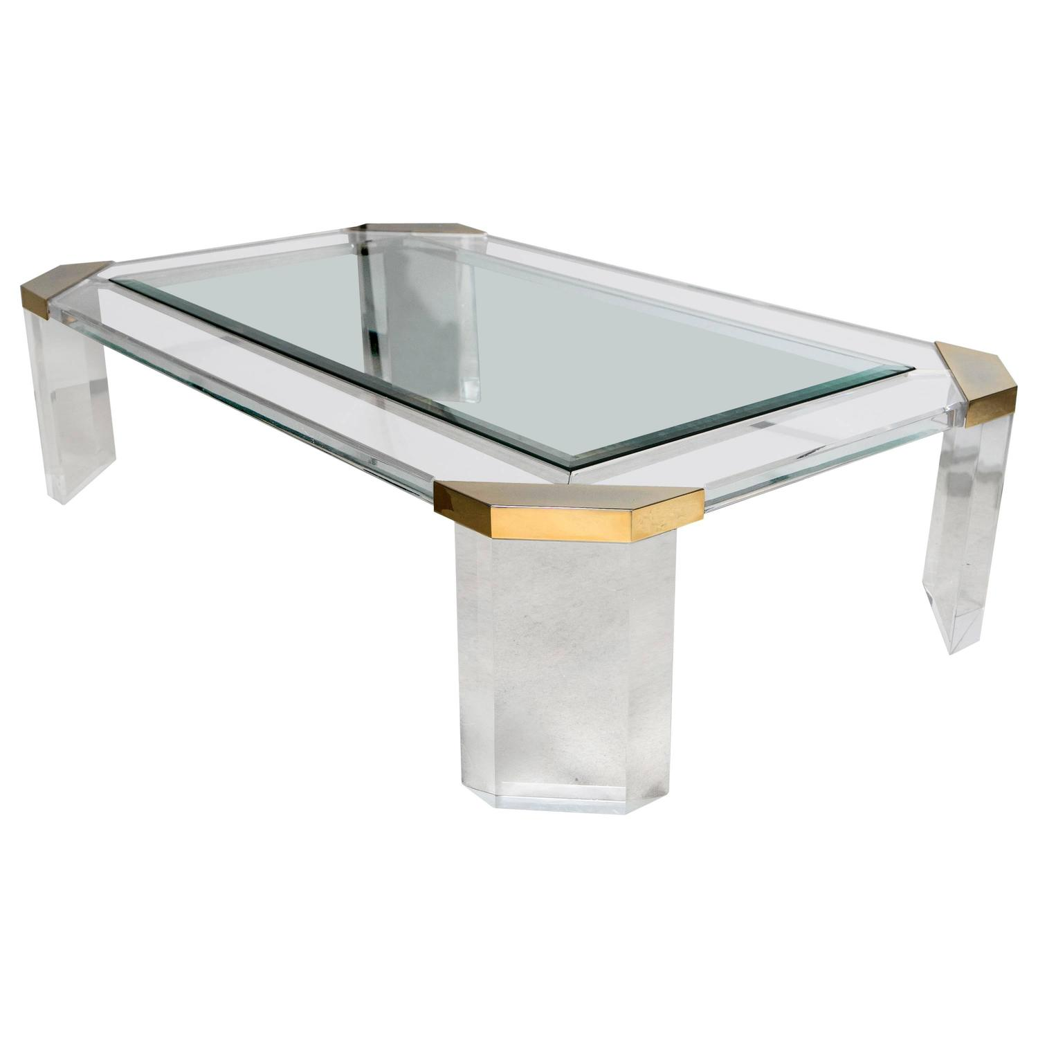 Lucite and brass rectangular coffee table for sale at 1stdibs for Acrylic coffee tables for sale