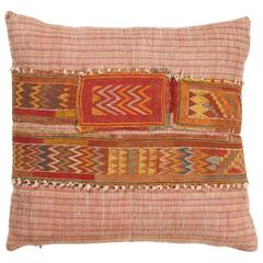 Indian Khadi Cloth Pillow with Needlepoint