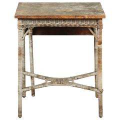 Vintage Wood and Wicker Small Gate Leg Table