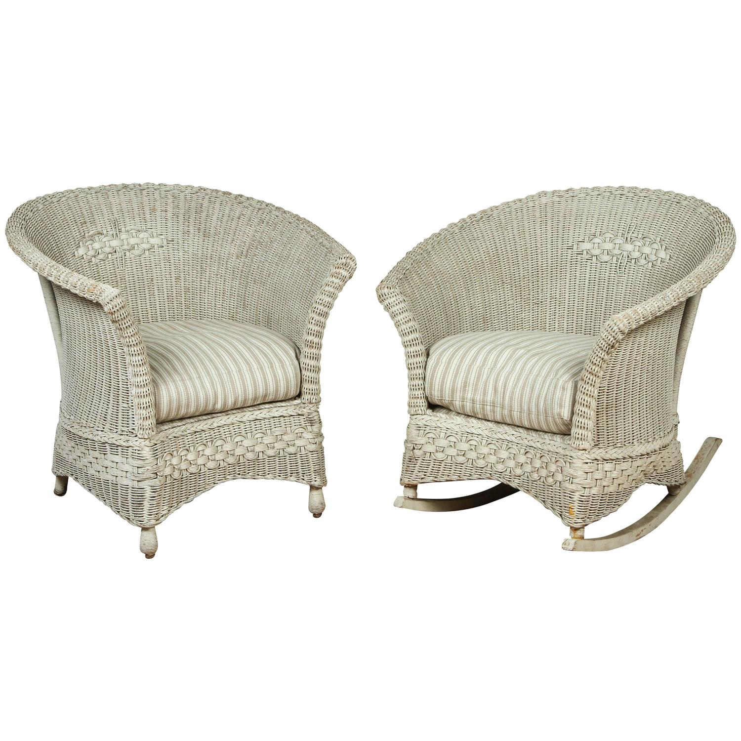 Antique Wicker Chair and Rocker For Sale at 1stdibs