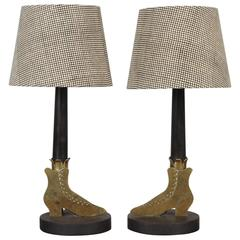 Pair of Brass Boot Lamps