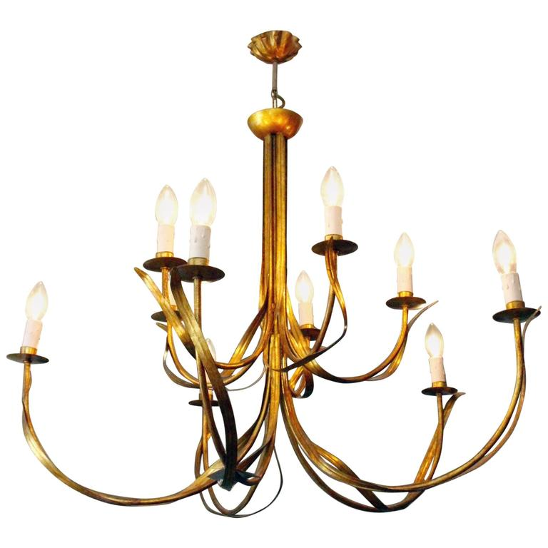 French gilt metal chandelier circa 1970 for sale at 1stdibs - Circa lighting chandeliers ...