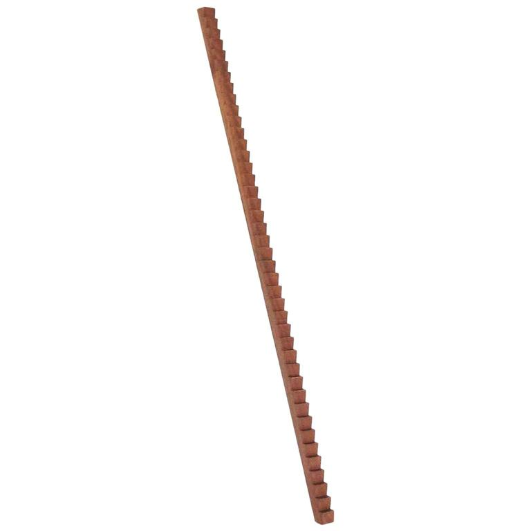 Stepped Leaning Sapele LED Line Light Sculpture For Sale