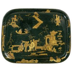 19th Century French Napoleon III Chinoiserie Painted Black and Gold Tole Tray