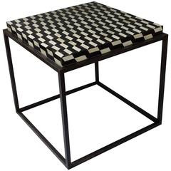 Contemporary Faux Bone Black and White Iron Base Side Table