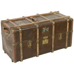 Antique French Steam Trunk in All Original Condition with Brass Wood and Leather